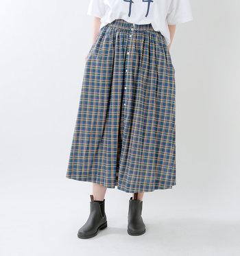 定番アイテムとして一枚は持っていたい、爽やかなマドラスチェックのスカート。イギリス生まれのブランド「ジムフレックス」らしく、カジュアルさとトラッド感がのバランスが絶妙です。カラーは3色展開。ついつい色違いでそろえたくなるほど、どのカラーも素敵です。 シルエットは、コーディネートしやすいシンプルなAライン。サイドにはスリットが入っていて程よい抜け感をプラスしています。