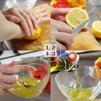 こちらは、レモン汁とエキストラバージンオリーブを使ったマリネ液です。マリネ液は、それぞれの材料の割合もポイント。味見しながらベストなバランスを見つけてください。こちらのレシピでは、お好みでマスタードを加えても良いのだそう♪