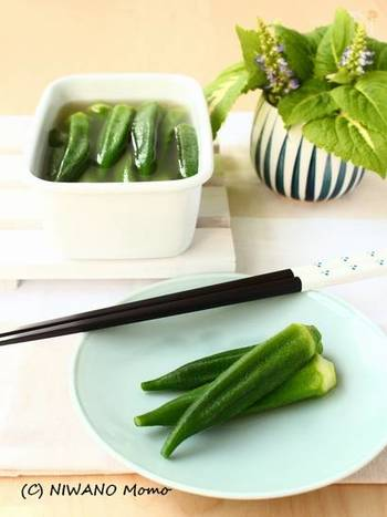オクラをサッと茹でたら、白だしとわさびの漬け汁にひたすだけ。上品な味わいのなかにほんのりとした辛みが後を引く、大人の副菜です。
