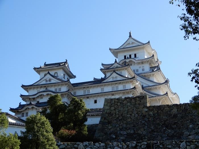 姫路城には、大天守を取り囲むように3つの小天守があります。大天守に比べると規模は小さいものの白漆喰の城壁に灰色をした瓦屋根をした壮麗な姿は、「白鷺城」の名にふさわしい佇まいをしています。