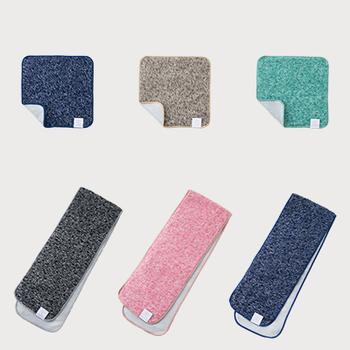 携帯に便利な「ハンドタオル」サイズと、首にかけて使用できる「スポーツ」サイズがあり、どちらも、ネイビー、ブラウン、グリーン、ブラック、ピンクの5色展開なので、家族で色違いで揃えたり、ちょっとしたプレゼントにも喜ばれそう。