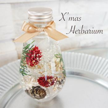 赤とグリーンで彩られたハーバリウムはクリスマスらしさがいっぱい!松ぼっくりを花材として使うことで、ナチュラルな雰囲気を生み出すことができます。