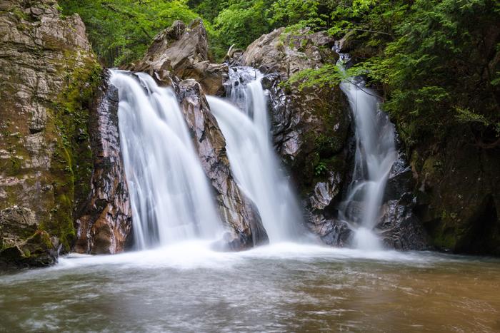 信楽町をとうとうと流れる田代川には「三筋の滝」と呼ばれる美しい滝があります。その名の通り、3つの水瀑が岩肌をなでるように滑り落ち、心地よい水音を響かせています。