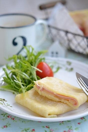 薄力粉を使って手作りしたトルティーヤ生地でブリトーを作ります。ハムとチーズをはさむと間違いのないおいしさです。
