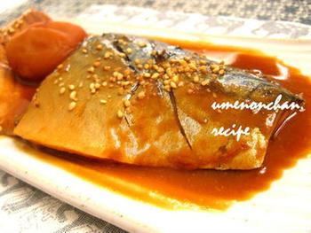 塩鯖で作る鯖の味噌煮。塩鯖を使うとより簡単に味噌煮を作れて◎。煮込む際に、ショウガと白干梅を入れると気になる臭みも消えるので、鯖が苦手な方でも美味しくいただけるかも。
