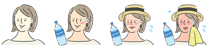 熱中症予報機能では、熱中症指数が上がると顔色や表情の変化を合わせてご確認いただけます。また、ペットボトルやハンカチなどのアイテムも指数の変化によって追加されていくので、その日の熱中症危険度を一目で判断することができますよ。  今回のイラストも、引き続きイラストレーターちばなつこさんにお願いしています。微妙な表情の変化など分かりやすく表現してくれました。