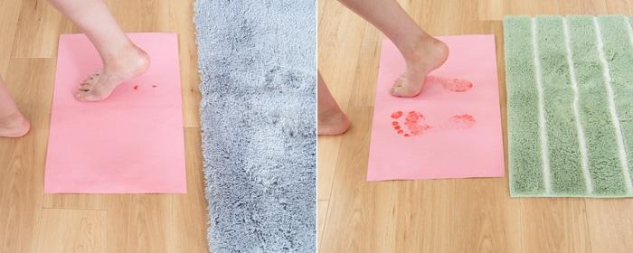 毛足が長いバスマットって、ビシャビシャで不快、吸水力も気になる――そんなイメージを払拭させる、吸水力と速乾力にご注目。バスマットで拭いたあとの足を、『乾度良好 Dナチュレ』のバスマット(写真:左)と普通のバスマット(写真:右)で比べてみました。濡れると色が変わる紙を見ると『乾度良好 Dナチュレ』のバスマットは変化がほとんどありません。毛足が長いから、足の指の間もしっかりと吸水してくれます。