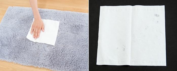 また、足を拭いたあとのバスマットに紙をあててみても、ほとんど濡れませんでした。水分を瞬時に吸水し、速乾性にも優れているので、いつでもサラサラな使い心地。2番目、3番目と最後のお風呂あがりでもさらりと快適に過ごせます。