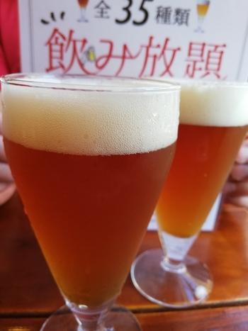 大人気の「クラフトビール含むドリンク全35種類飲み放題」では、鮮度抜群のビールを思う存分堪能できます。醸造所直結のできたての味は、いつものビールとはひと味もふた味も違うと評判です。