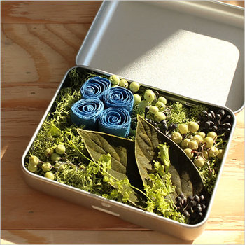 ■MAU Un carre de base アロマディフューザー ドライフラワーのようですが、こちらはなんとペーパープランツ。お好みのオイルを垂らして使う、アロマディフューザーです。タブレット缶入りで、フタをしておけば香りをおさえることもできます。