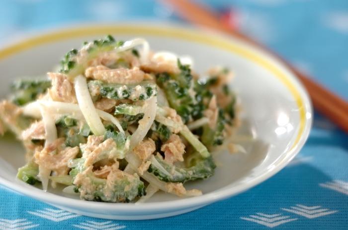 ツナを入れることでゴーヤの苦みをマイルドに抑えたサラダです。ポン酢も加えているので、和食とも合うのだそう。ゴーヤはワタを取り、塩揉みと下茹でなどの準備を丁寧にすることでお子さんでも食べやすくなります。