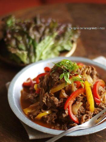 「ファヒータ」とは、トルティーヤに乗せるグリルした肉料理の総称で、玉ねぎやパプリカとともに炒めたテクスメクスメニューのひとつ。元々は牛のハラミを指す単語でしたが、現在は牛・豚・鶏・エビのグリルなども含めます。こちらは、しょうゆが隠し味のレシピ。