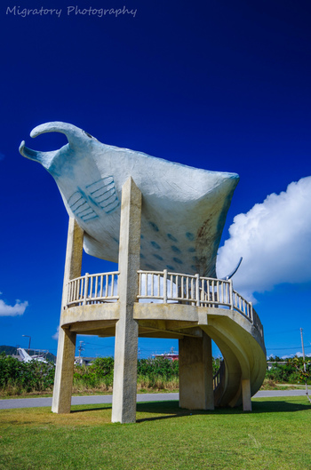 海人(うみんちゅ)公園は、細崎海岸のすぐ近くにある公園です。公園内には、大きなマンタの形をした展望台があり、細崎海岸、細崎漁港を一望することができます。