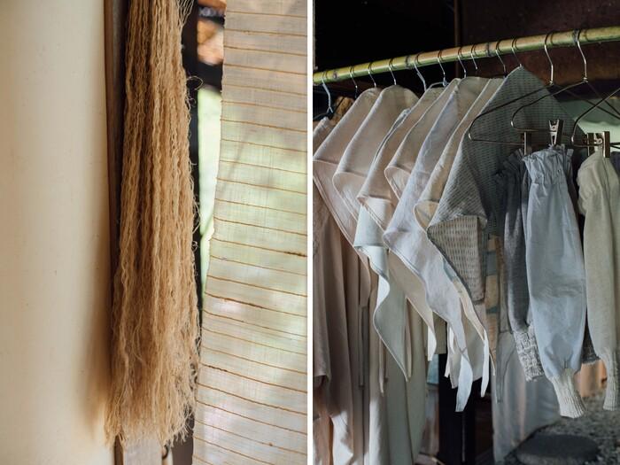 カラムシという草を乾燥させたものを衣に使用(写真左)。工場で出た靴下の廃棄を分けてもらい、リブの部分を袖のデザインに活用する(写真右)。リメイクも好きで、すでにある素材の形からアイデアが広がることが多い