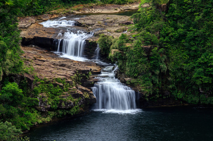 浦内川河口から上流の方へ上ってゆくと、「日本の滝100選」に選定されているマリュドゥの滝があります。轟く水音、白いしぶき、エメラルドグリーンに輝く滝壺、滝を覆う豊かな緑の森が織りなす景色は一枚の絵のようです。