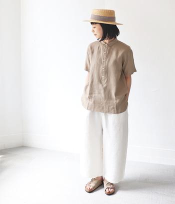 いつものシンプルな服装に飽きてきたな…と思ったら、麦わら帽子を合わせてみてください。一気に夏らしいさわやかなコーデになりますよ。