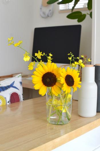 ガラスの花器に飾ったひまわりは飾る場所を選ばず、どこにでもマッチする汎用性の高さがあります。鮮やかな黄色が引き立ちますね。