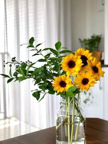 小さめのお花を咲かせる種類のひまわりには、たっぷりのグリーンを添えて。グリーンがあると、鮮やかなイエローがより際立って、元気よく見えます。