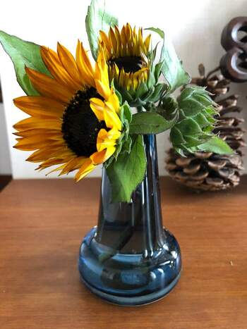 カラーガラスの花器に生けたひまわりは、なんだかとてもアーティスティック!ゴッホの油絵のような美しい色彩感覚に心が躍ります。