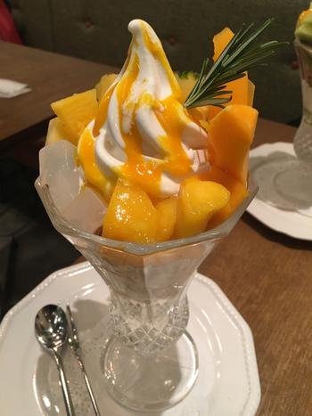 マンゴー、パパイヤ、パイナップルなどが入った「南国パラダイス」。濃厚でトロピカルな甘みとさっぱりとしたソフトクリームが相性抜群です。脇に添えられたナタデココの食感もいいアクセントに。