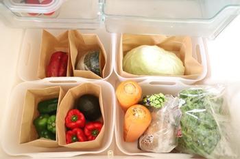 こちらのブロガーさんのように野菜をペーパーバッグに入れて収納すると、土などで汚れた時もお掃除が楽ちんです。野菜室がスッキリ整理されていると、お料理の時間がさらに楽しくなりそうですね♪