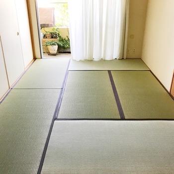 ゆっくり落ち着ける畳のお部屋。畳は古くなったら張り替えて長く使うことができます。新品の畳は青くて香りも良いですね。