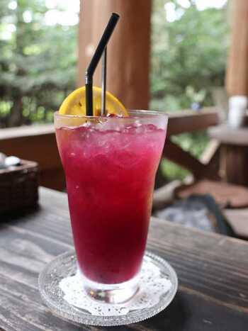 「離山房」は森の中。テラス席でジョンの好物だったという『ブルーベリージュース』はいかが。