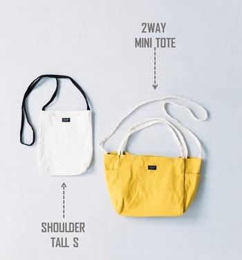 洗濯ができて、ラフに使えるのが魅力の「DAILY」シリーズから、小さめサイズのニューデザインが登場。 お財布やスマートフォンをさっと入れたい「SHOULDER TALL S」と、ショルダーにもトートにもなる便利な「2WAY MINI TOTE」。どちらも身軽に出かけたい今の気分にぴったりです。