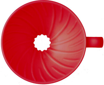お湯が中心に集まる秘密、もうひとつは内側に刻まれたこの螺旋状のリブ(凸部)。  ペーパーとドリッパーの間に少し空間をつくることで、蒸らしの際に空気がほどよく抜け、珈琲の粉がしっかりと膨らむ…という役目も果たしています。