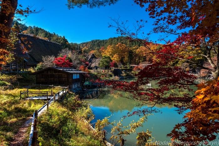 飛騨の里は、昔から飛騨に住んでいた人々の暮らしを再現した博物館です。秋が訪れた飛騨の里はひときわ美しく、日本の里山のイメージそのものです。