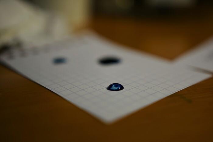 「色彩雫」の特徴は、ブルー系のインクが充実していること。微妙な変化を楽しむことができます。
