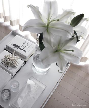 インテリア小物のイメチェンと同じように、お花の色合いから選ぶ方法もありますよ。白い花は夏らしいアイテム。ダイナミックに飾ってアクセントにしてもいいし、小さなお花を選んで、テーブルの涼し気ポイントにするのも素敵です。