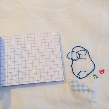 お子さんがいる方は、お子さんが描いたイラストを刺繍の図案として、さらに思い出に残る作品をつくりあげることもできちゃいます。