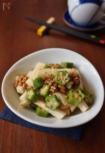 スタミナがつくネバネバ食材、長いも・オクラ・納豆の3色和え。暑い夏も乗り越えられそうなレシピです。