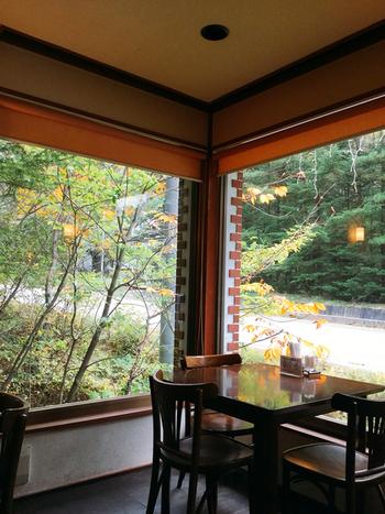 店内は窓が大きく取られていて、開放的。テラス席ではなくても北軽井沢の自然を眺めることができます。
