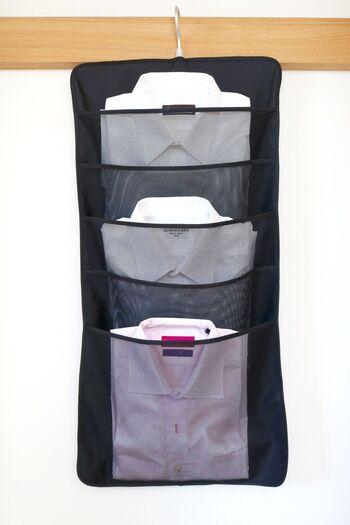 こちらは、お父さんのシャツを専用ポケットに入れて吊るすタイプの収納です。これなら省スペースですし、引き出しに積み重ねることで襟などが潰れてしまう心配もなさそう。