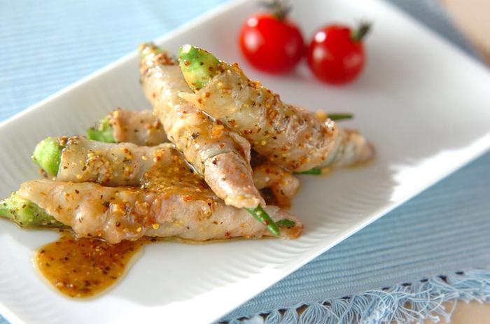 胃に優しいオクラと疲労回復が期待できる豚肉のコラボなら、ご飯もどんどん進みそう。ソースに含まれるニンニクは、ビタミンB1の吸収を助ける役割もあると言われているので、ニンニクの香りで食欲をアップさせながら夏の暑さを乗り切りましょう。