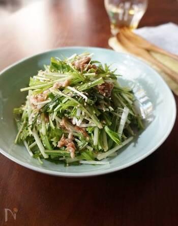 シャキシャキの水菜をたっぷりと食べられるサラダです。ツナが入っていますが、梅干しと大葉にポン酢が効いて、さっぱりとした味わいに。こってり料理の付け合わせにもおすすめです。