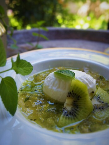 固めたヨーグルトと梅ゼリーのデザート。キウイのクーリ(ピュレ上のソース)を周りにかけて、一緒にいただきます。梅ゼリーに入ったミントが爽やかで、夏にぴったりのレシピです。