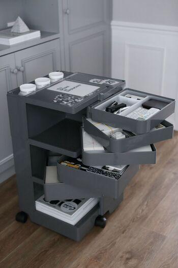 雑貨類をひとまとめにした収納は作りたいけれど、お部屋の中にそのスペースを確保できない、という場合は、こういった機能的なワゴンを使ってみるのもいいかもしれません。まさに「移動する収納」なので、リビングやキッチンなど、片付けたいものがたくさんある場所に自由に置けるのがメリットです。