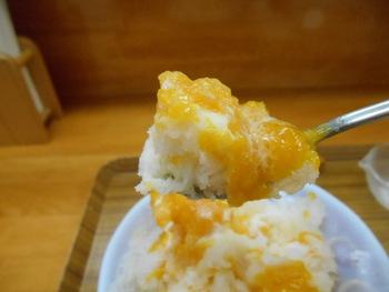 試行錯誤の末辿り着いたという果実ベースのシロップは、白桃・パイナップル・マンゴーなど種類も豊富。ふわふわの氷に、ジューシーな果実シロップがたっぷりかかっています。