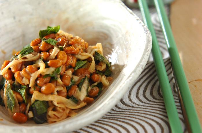 切り干し大根と納豆の和え物レシピです。それぞれの食感の違いが楽しい一品。大葉の風味とからしのアクセントがポイントです。ご飯のお供にも、おつまみにもいけそうですね。