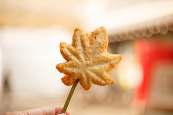 もみじの形をした「もみじ天」は、ふっくらとした食感でペロッと食べられる美味しさ。かき、あなご、明太子、たこなどいろいろな味が揃ってます。ちょっとした軽食にも良さそうです。