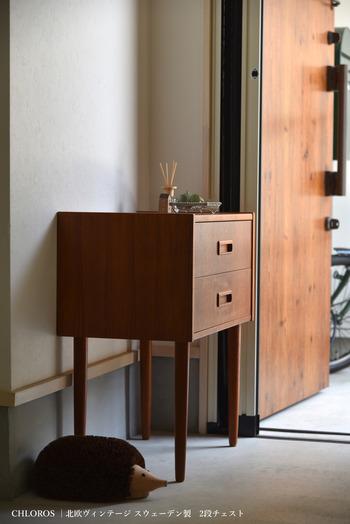 玄関先で使う細々したものを入れるのに、コンパクトなチェストはとても便利です。玄関に置くモノは、扉や柱の色味と合わせてカラーコーディネートをしておくと、空間全体の馴染みがよくなります。
