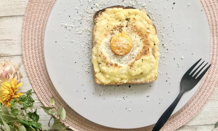 ご飯とも麺類とも相性バッチリのスパムはパンとも相性バッチリ♪食パンにスパム、キャベツ、とろけるチーズに卵、そしてパルミジャーノをかけてオーブントースターで焼くだけで、オシャレなカフェ風のチーズトーストに。見た目もオシャレで簡単に作れるので、休日のブランチにいかがでしょうか。