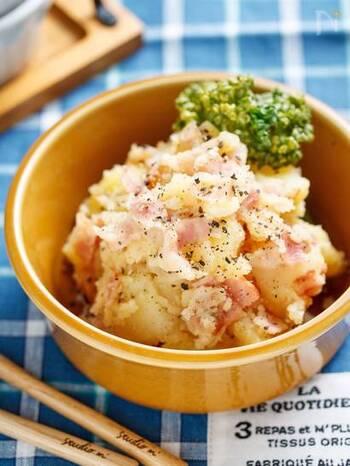 マヨネーズが苦手な人でも食べることができる、マヨ不使用のレシピ。コンソメとベーコンのの旨味がきいています。材料が少なく、しかもワンポットで作れてお手軽ですよ。