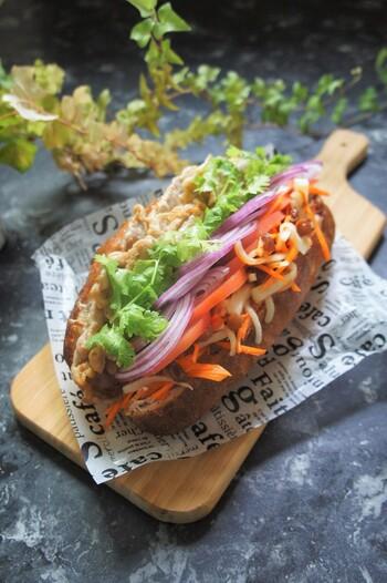 大根とにんじんとレーズンで作る紅白ナマスがたっぷり入ったヴェトナムサンド。ヘルシーで見た目も豪華なサンドイッチは、これだけでランチやピクニックに使えそう。