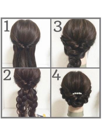 ハーフアップに束ねて一度くるりんぱして、残りの髪を2つに分けて結びます。それぞれ三つ編みにしたら逆サイドに持っていき、ピンで固定します。簡単なのにとってもエレガントななまとめ髪に♪
