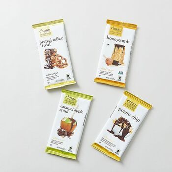 プレッツェルやキャラメルアップルなど、ユニークな素材をチョコレートと組み合わせたバーです。新しい物好きや、甘いもの好きな方へのプレゼントに。