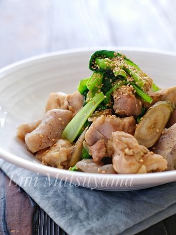 鶏肉のコクと新ごぼうの優しい香りが絶妙にマッチする一品。さっと茹でた小松菜で彩りもプラスしています。短時間で作ることができて、忙しい日のおかずにもおすすめです。